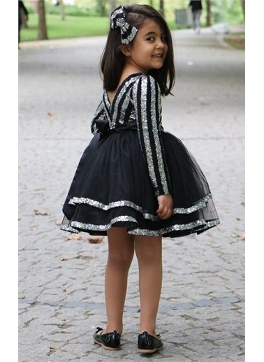 Riccotarz Kız Çocuk Şerit Parıldayan Maskeli Gümüş-Siyah Abiye Renkli